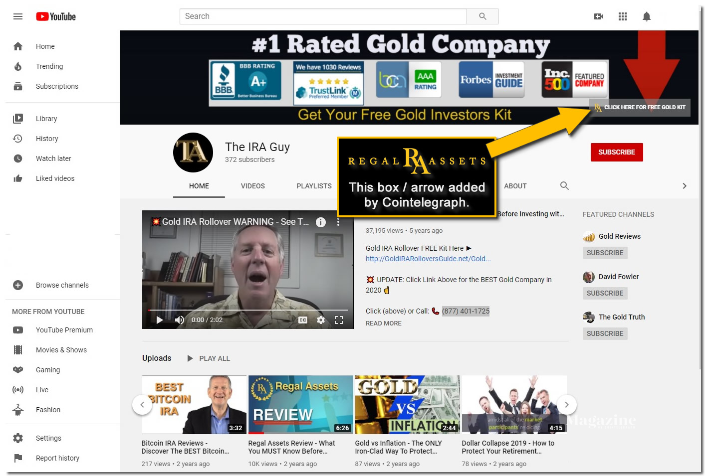 Regal Assets featured by Crypto IRA Guy on YouTube Platform