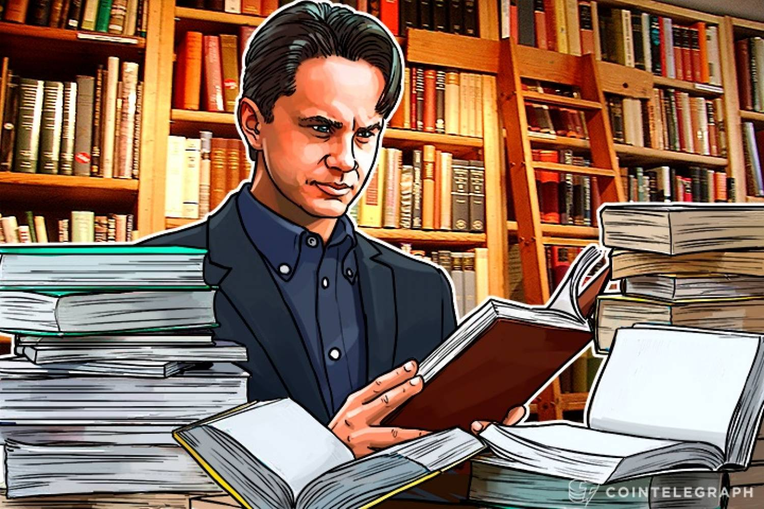 A man reading books about ICO and blockchain