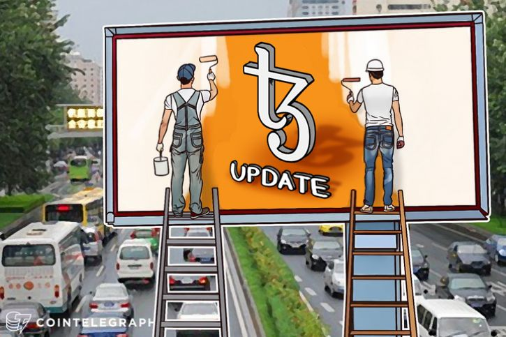 "Two men painting the word ""Update"" on a banner"