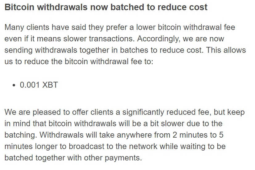Bitcoin withdrawals now batched to reduce cost