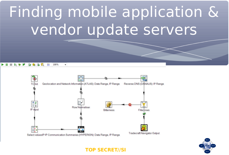 Finding mobile applications and vendor update servers