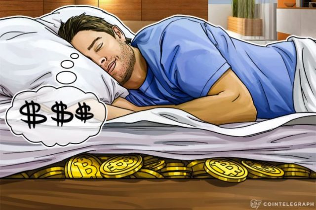A man sleeping with bitcoins under the mattress