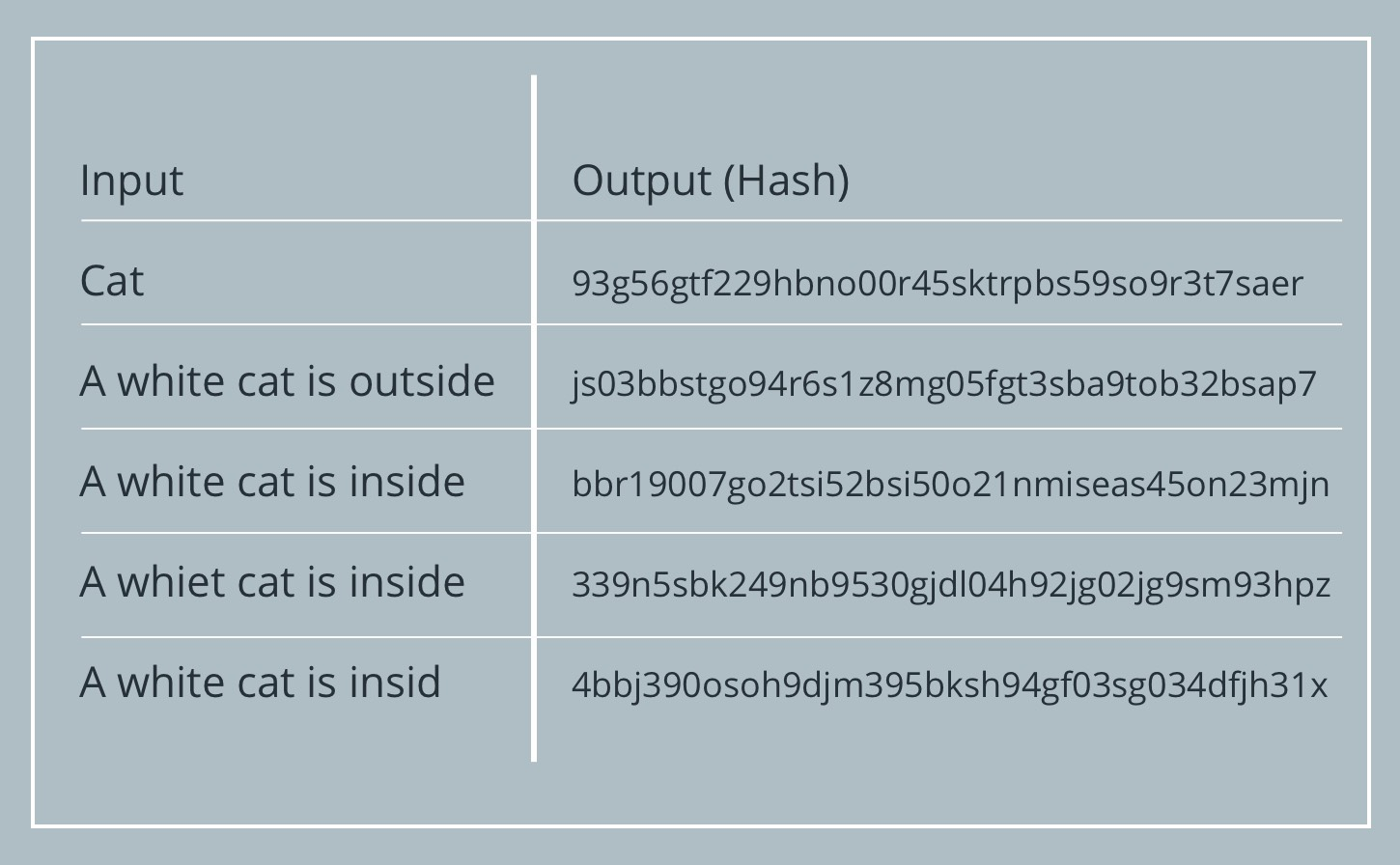 Hash input and output examples