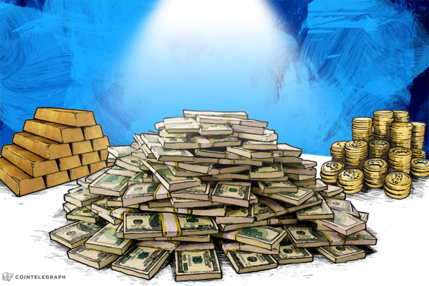 Mountain of money, mountain of gold, mountain of bitcoins