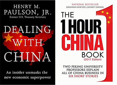 Acerca de China: Dealing with China por Henry Paulson (2015) y One Hour in China por Jeffrey Towson y Jonathan Woetzel (2017)