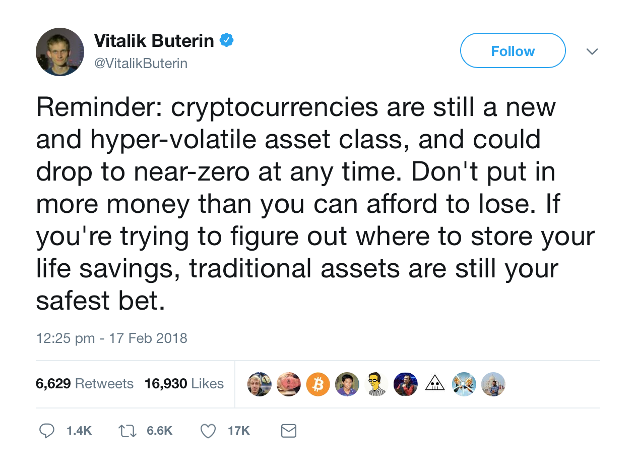 Buterin's tweet with a finance advice