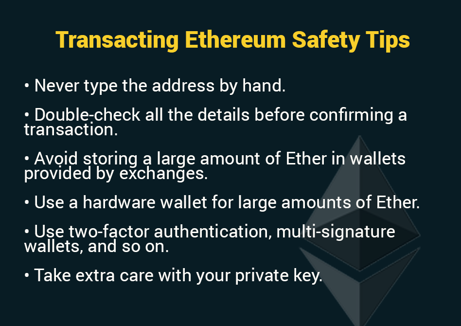 Transacting Ethereum Safety Tips
