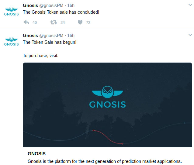 Fastest-Ever ICO: Ethereum-Based Gnosis Creates $300 Mln in Minutes, Raising $12 Mln