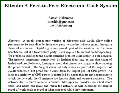 About BTC: Bitcoin: A Peer-to-Peer Electronic Cash System by Satoshi Nakamoto (2009)
