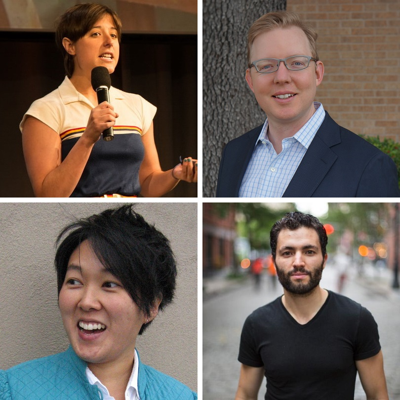 MIT's Chelsea Barabas, Factom CEO Peter Kirby, senior business operations lead at IDEO Anne Kim, and co-founder and CEO of OneName Ryan Shea