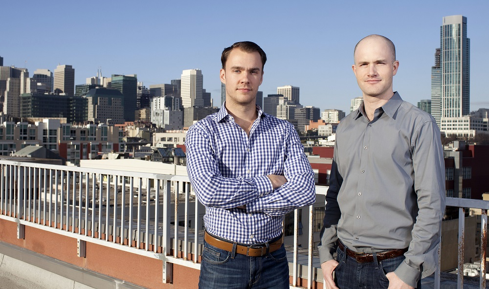 Coinbase co-founders Fred Ehrsam (left) and Brian Armstrong (right)