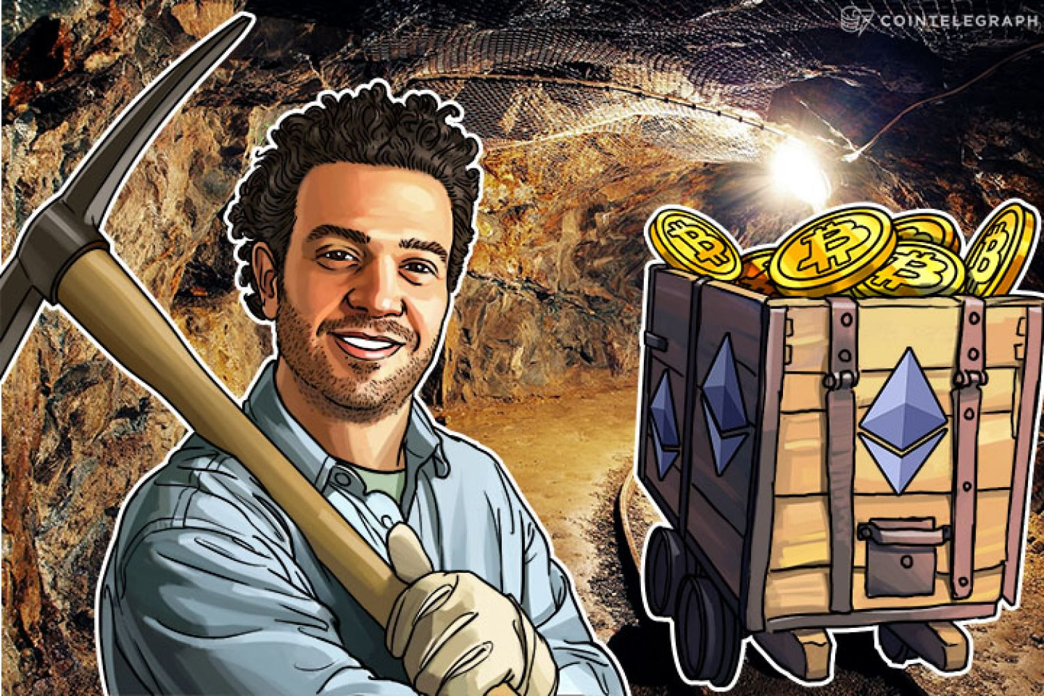 A crypto miner in a mine