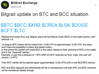 Bitgrail update on BTC and BCC situation.