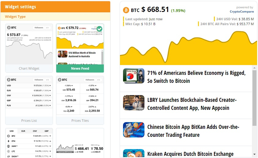 Bitcoin price and Cointelegraph news widget