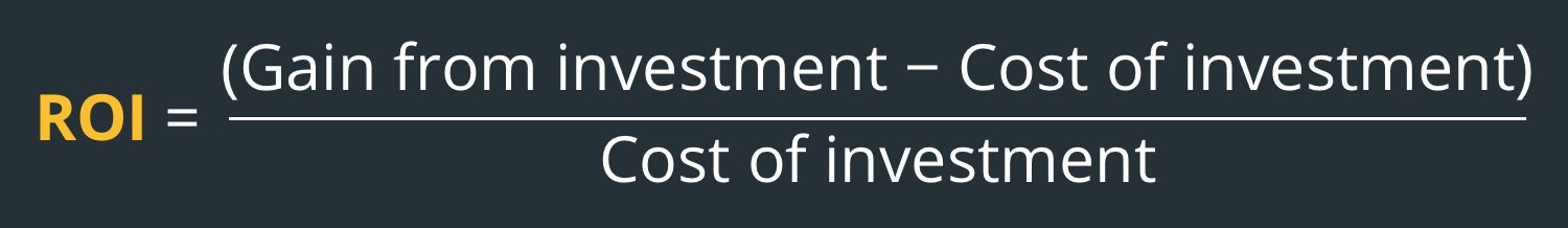 The return on investment formula. ROI = (Gain from investment - Cost of investment)/Cost of investme