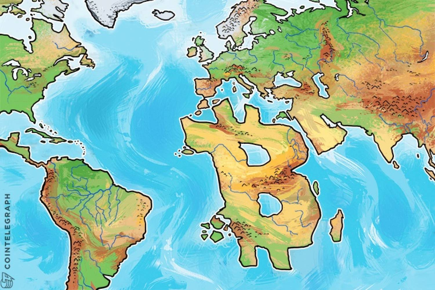 A map with a Bitcoin-shaped continent