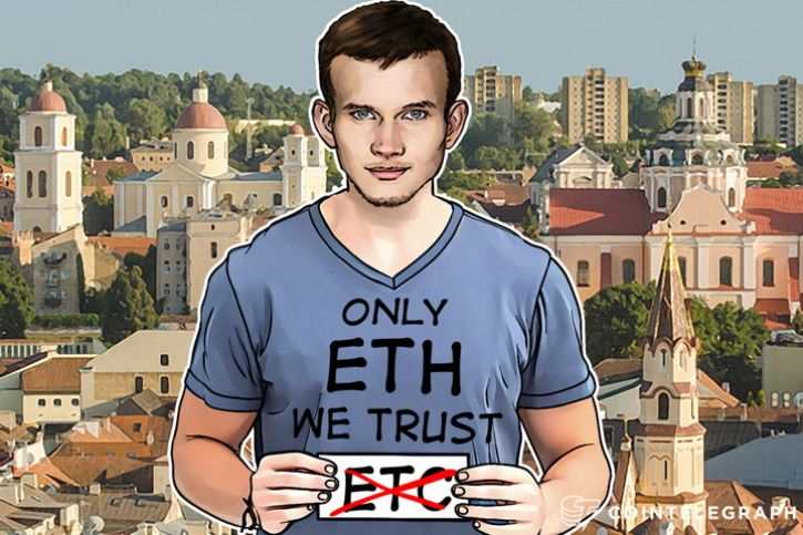 "Vitalik Buterin wearing a T-shirt ""ETH We trust"""