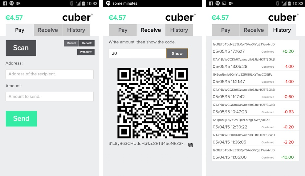 The Cuber Wallet app