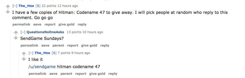 The_Hox kicked off his highly-upvoted post by giving away copies of a game called Hitman: Codename 47