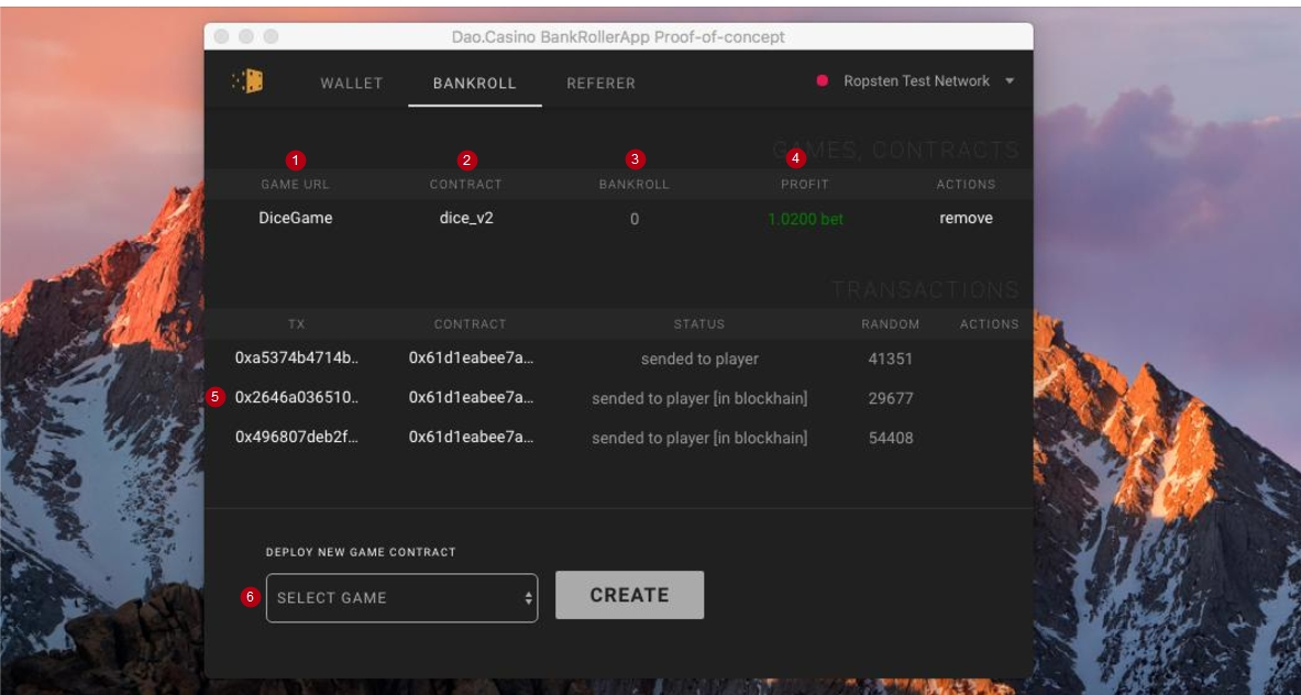 Bankroll backer interface