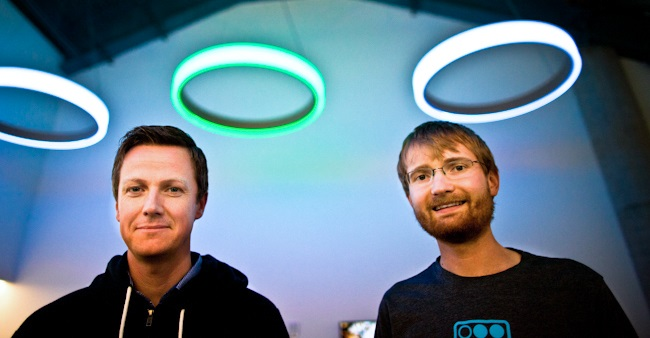 SoFi co-founders Dan Macklin (L) and James Finnigan - Ethan Baron photo