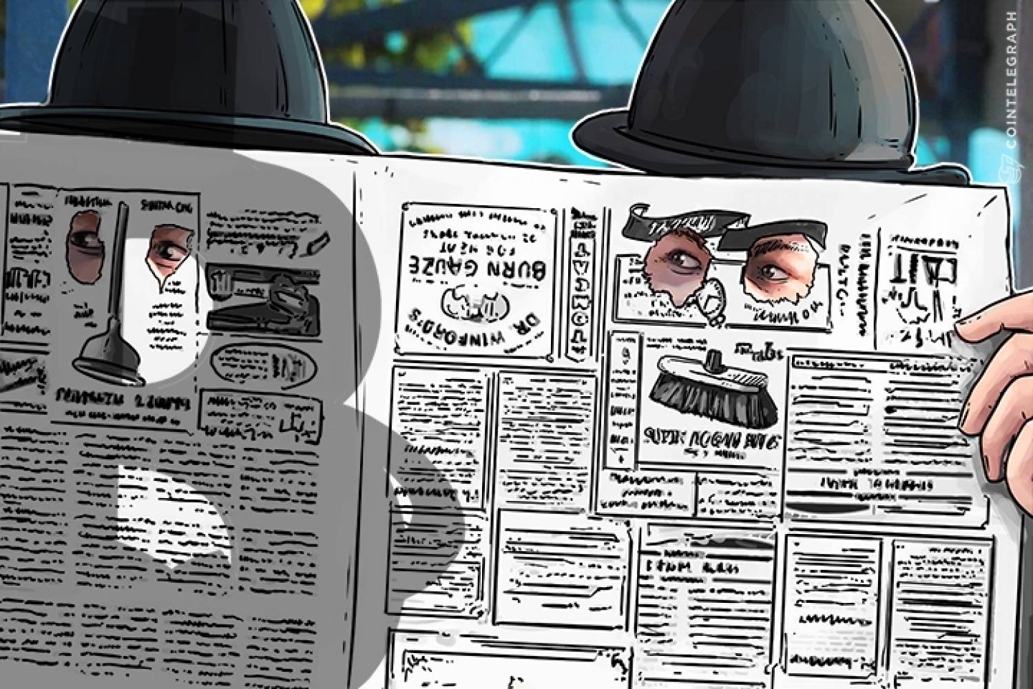 Two men looking through a newspaper