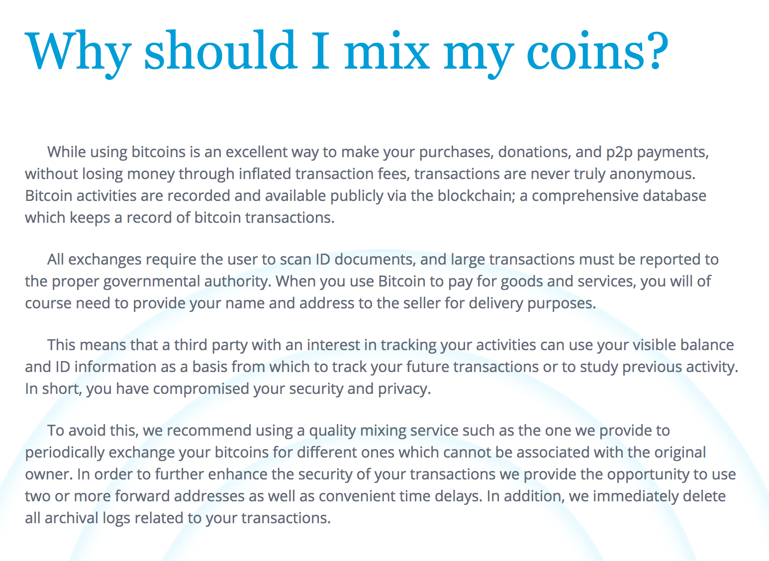 Why should I mix my coins?
